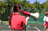Tennis with slutty lesbian beauties goes so hot in amateur porn