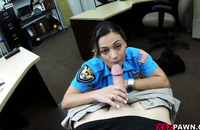 Blowjob for money - a hottie dressed as a police women get gets her mouth filled with sperm.