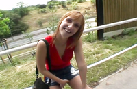 Sexy redhead gives blowjob outdoors for cash - she knows her stuff