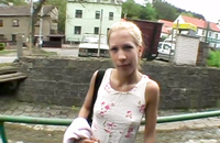 Blowjob in the street by a jolly blonde hottie